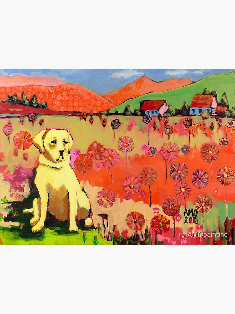 Dog in field of flower  by AMOpainting