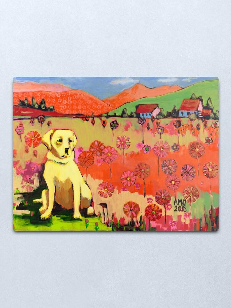 Alternate view of Dog in field of flower  Metal Print