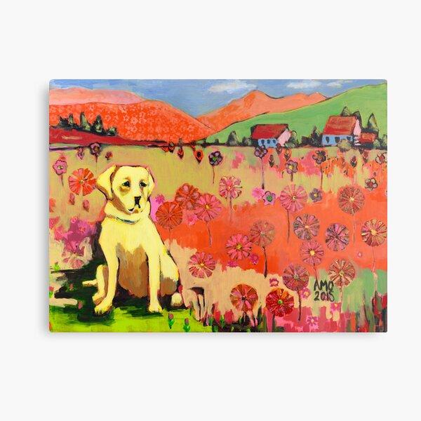 Dog in field of flower  Metal Print