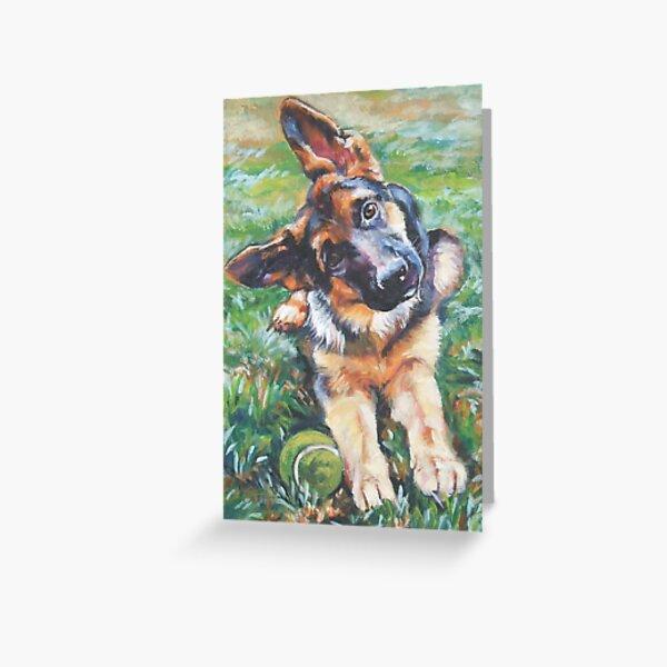 German Shepherd Fine Art Painting Greeting Card