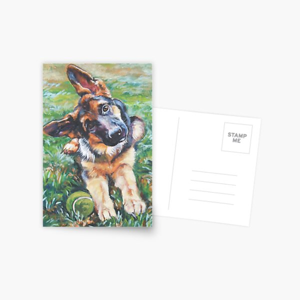 German Shepherd Fine Art Painting Postcard