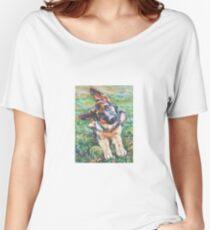 Deutscher Schäferhund Fine Art Painting Loose Fit T-Shirt