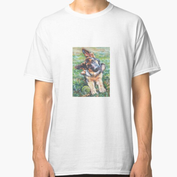 German Shepherd Fine Art Painting Classic T-Shirt