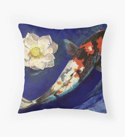 Showa Koi and Lotus Flower Throw Pillow
