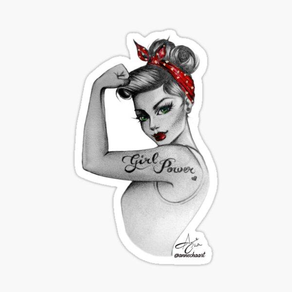 Girl Power by Anne Cha Modern Rosie the Riveter Sticker