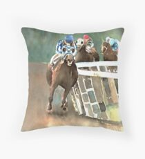 Into The Stretch And Heading For Home-Secretariat Throw Pillow