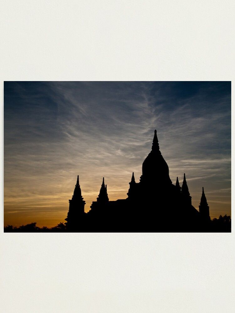 Alternate view of Bagan Temple at sunset Photographic Print