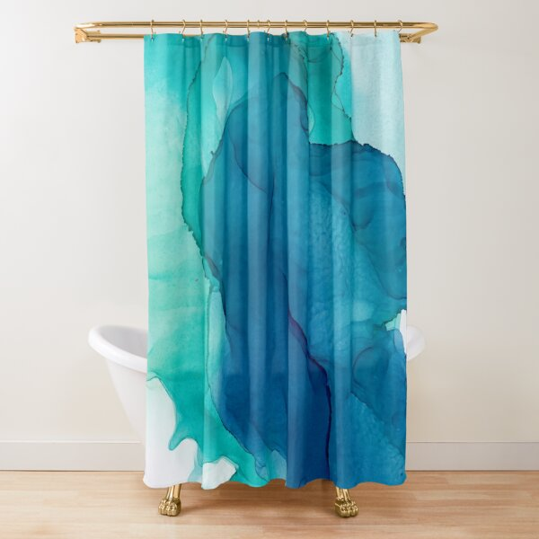 Teal Sunrise Abstract Blue Painting Shower Curtain