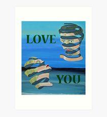 Two Heads, LOVE  YOU Art Print