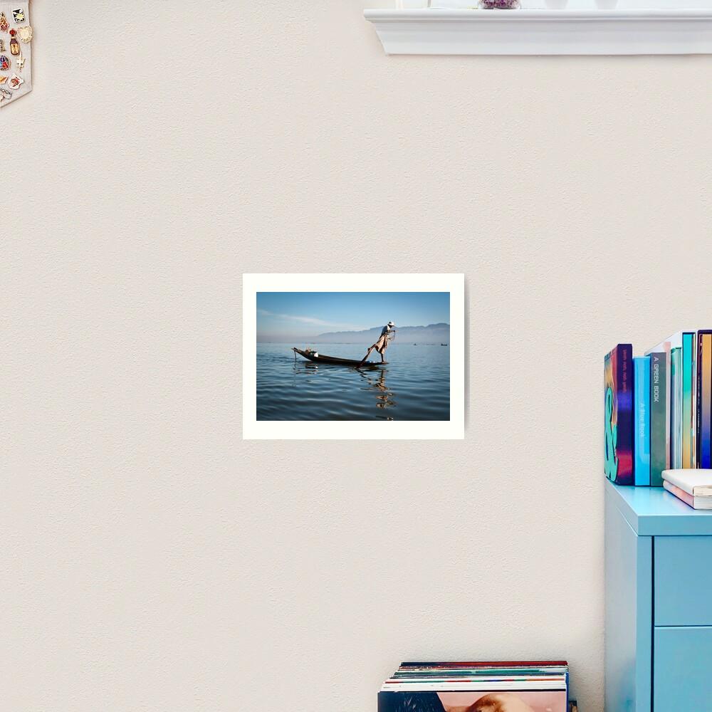 Fishing on Inle Lake  Art Print