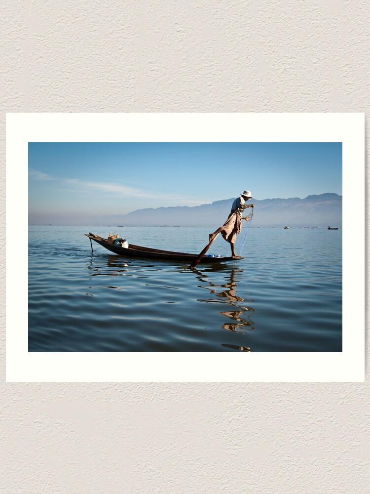 Alternate view of Fishing on Inle Lake  Art Print