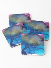 Blue and Red Abstract, All That Glitters Coasters