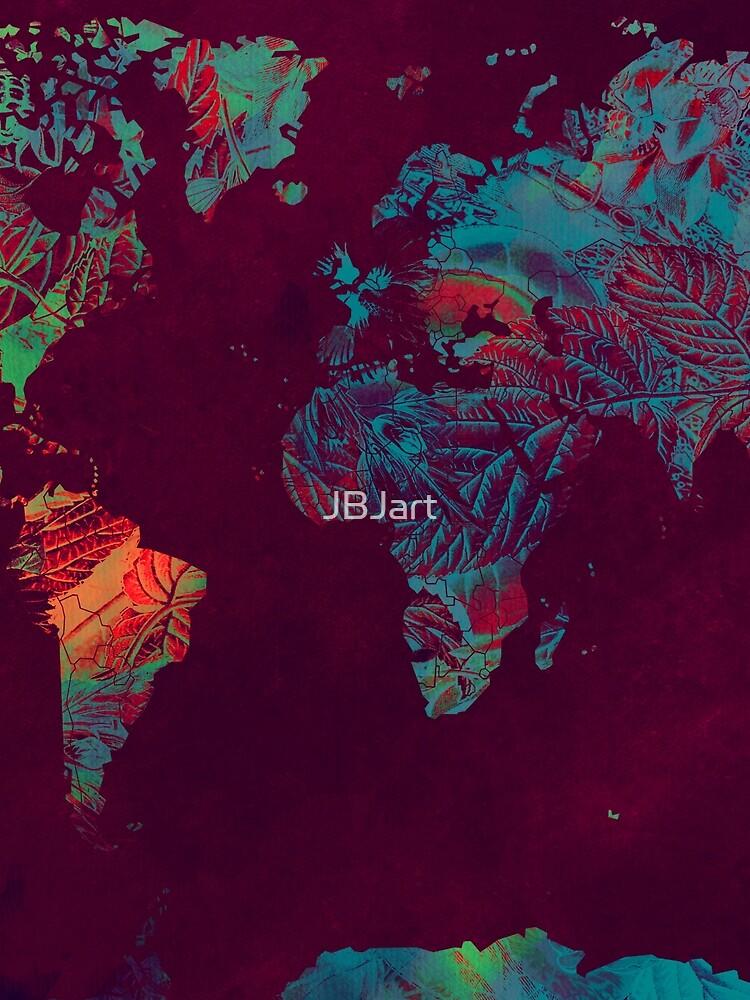 world map blue red #map #worldmap by JBJart
