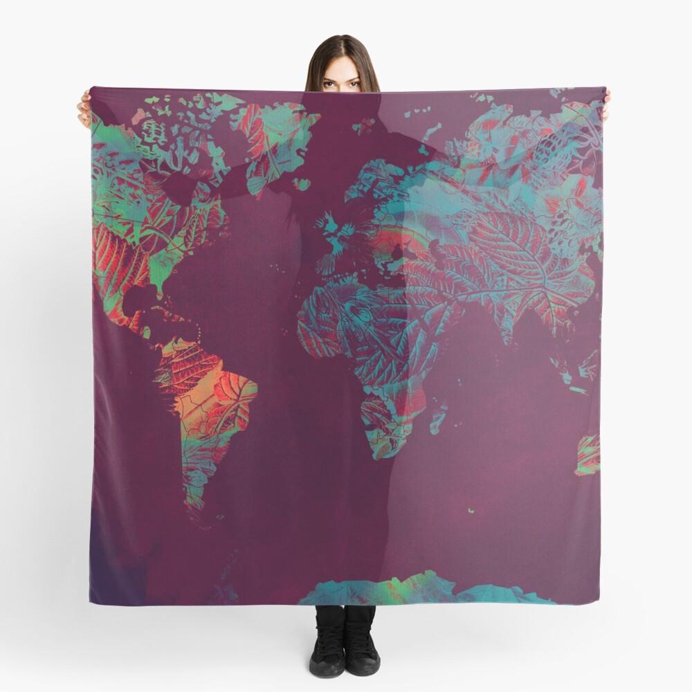 world map blue red #map #worldmap Scarf