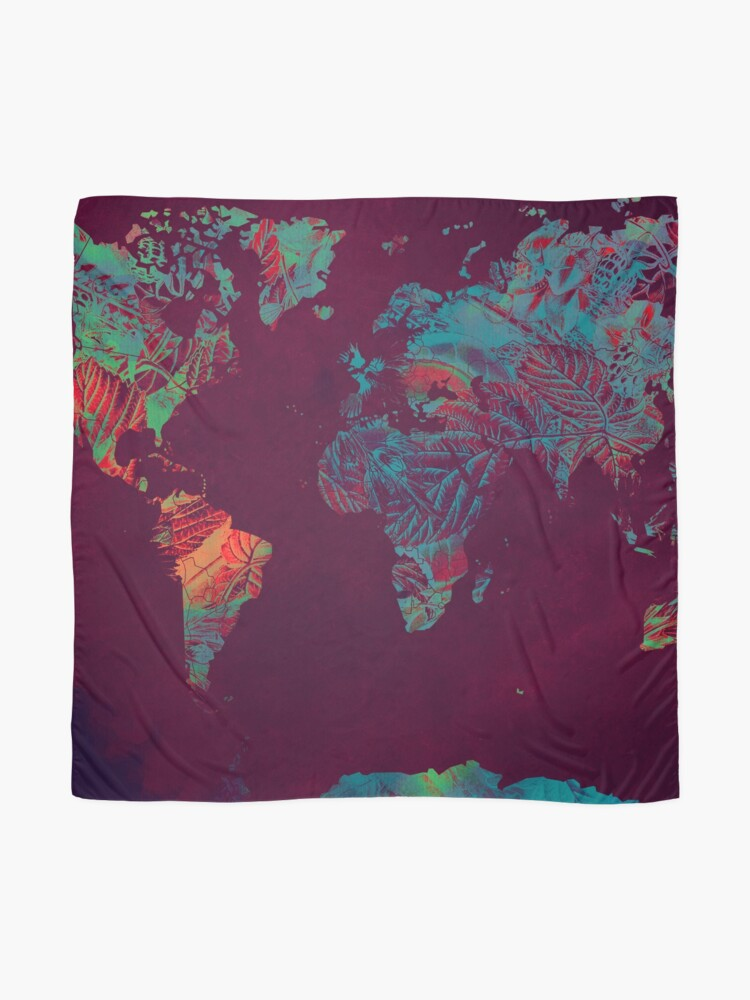 Alternate view of world map blue red #map #worldmap Scarf