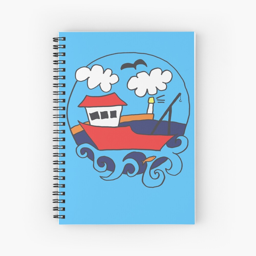 Plucky Fishing Boat Spiral Notebook