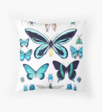 Teal Insect Collection Throw Pillow