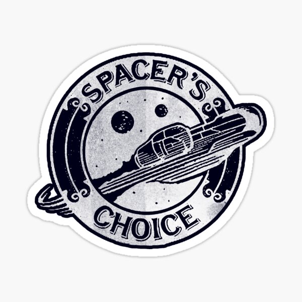 Spacer's Choice Distressed White Alternate Logo | The Outer Worlds Logo Sticker