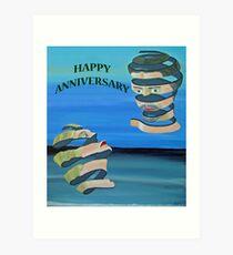 Two Heads, HAPPY ANNIVERSARY Art Print