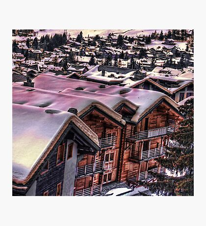 The Lights Bounce Brightly in Verbier (HDR) Photographic Print