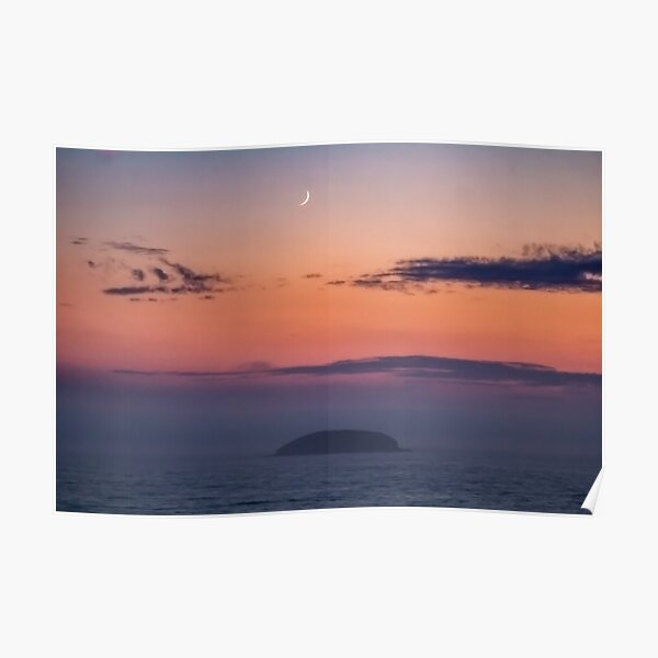 Sunrise with Moon Poster