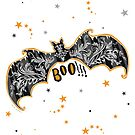 Halloween Bat Boo Greeting Card by HoneyBeeCre8tiv