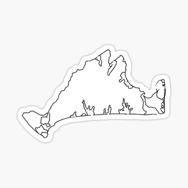 Marthas Vineyard, Massachusetts Outline Sticker