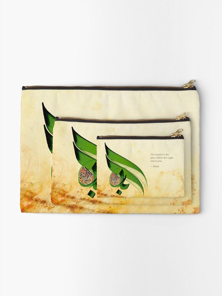 Alternate view of Arabic Calligraphy - Rumi - Light Zipper Pouch