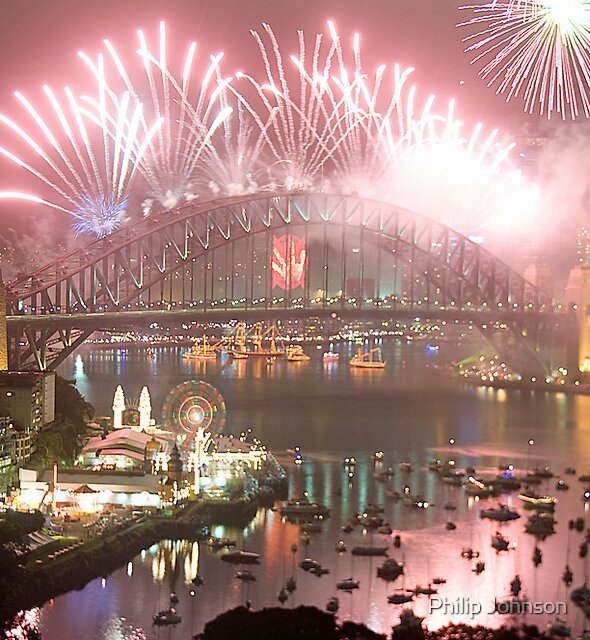 City Of Light # 2 - Sydney Harbour New Years Eve  by Philip Johnson