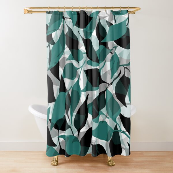 Fresh Leaves Pattern | Teal Green • Black • Gray Shower Curtain