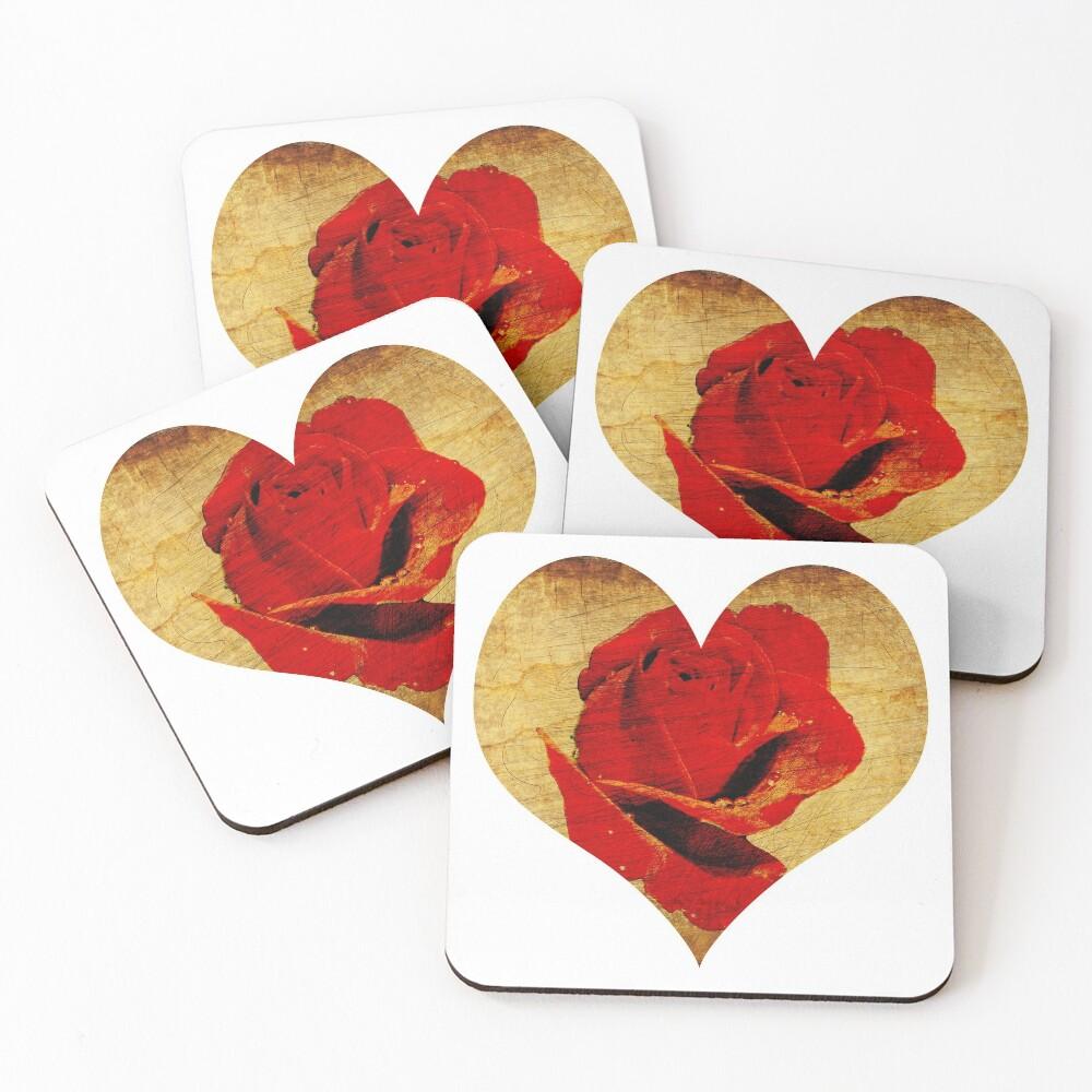 Rose,love,grunge,red. Coasters (Set of 4)