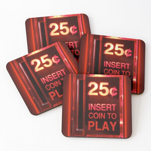 Insert coin retro arcade Coasters (Set of 4)