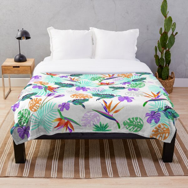Bird of paradise and humming bird turquoise palm leaves Throw Blanket