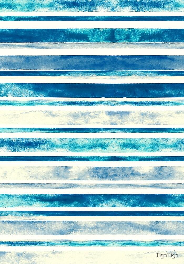 Watercolor Stripes - Blue  by TigaTiga