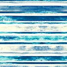 Watercolor Stripes - Blue  by TigaTiga