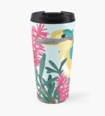 Australian Kingfisher sitting in bottlebrush with blue background Travel Mug