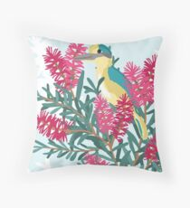 Australian Kingfisher sitting in bottlebrush with blue background Throw Pillow