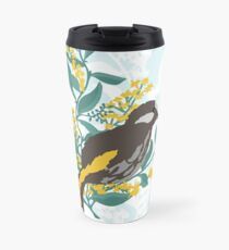 Aussie Honeyeater sitting on a wattle branch Travel Mug