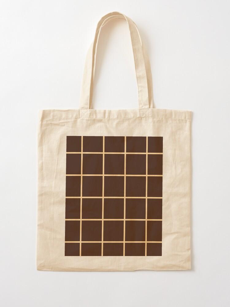Alternate view of Brown Squares Graph Grid Illusion Tote Bag