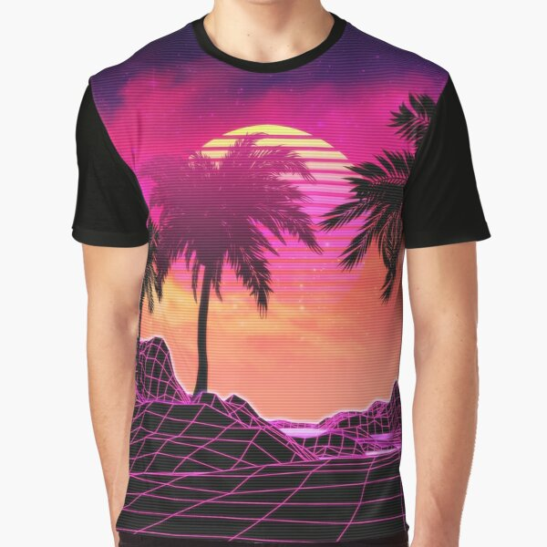 Pink vaporwave landscape with rocks and palms Graphic T-Shirt