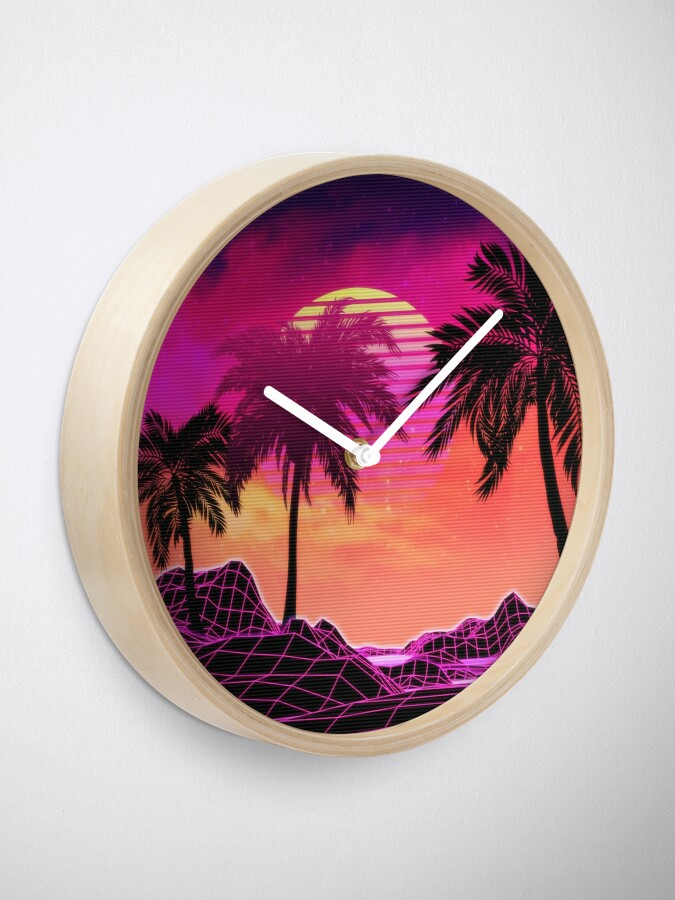 Alternate view of Pink vaporwave landscape with rocks and palms Clock
