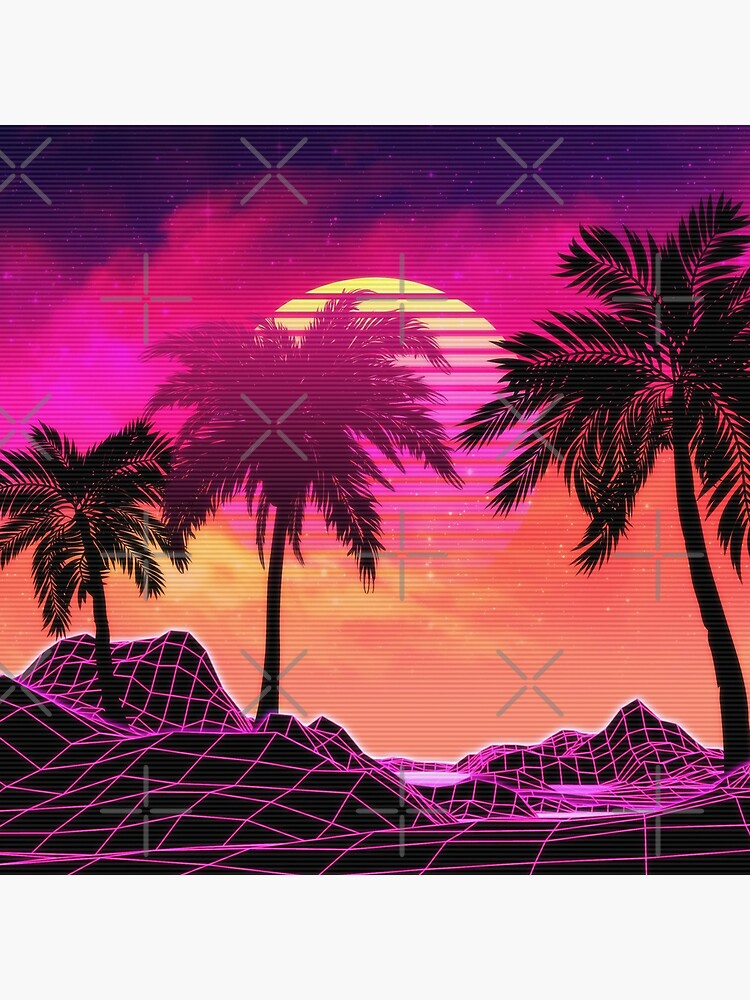 Pink vaporwave landscape with rocks and palms by AnnArtshock