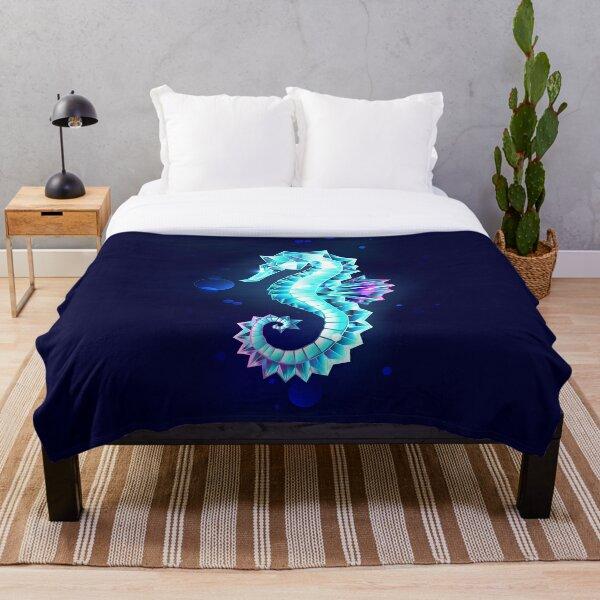 Ice Seahorse Throw Blanket