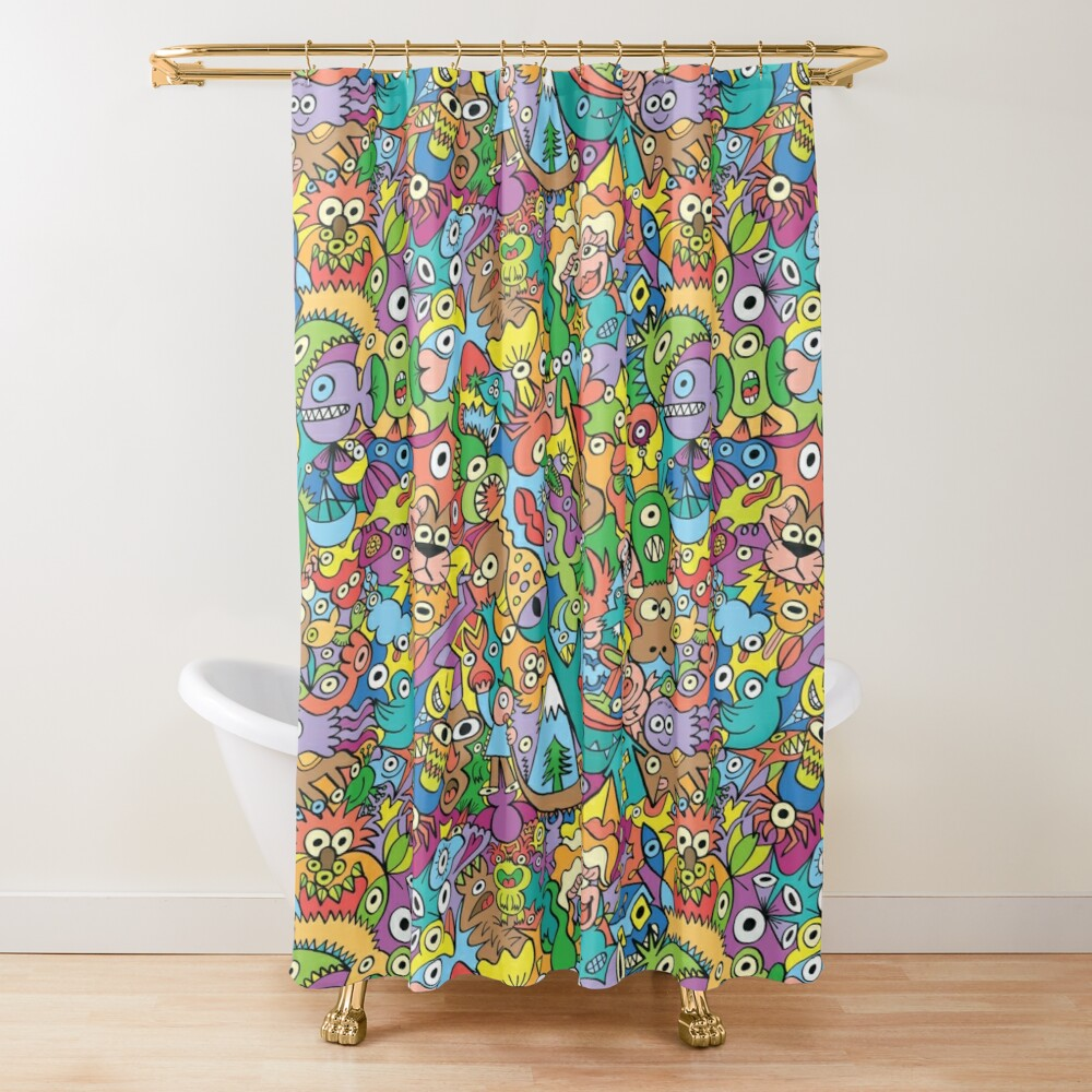 A pinch of everything in a pattern full of carnival colors Shower Curtain