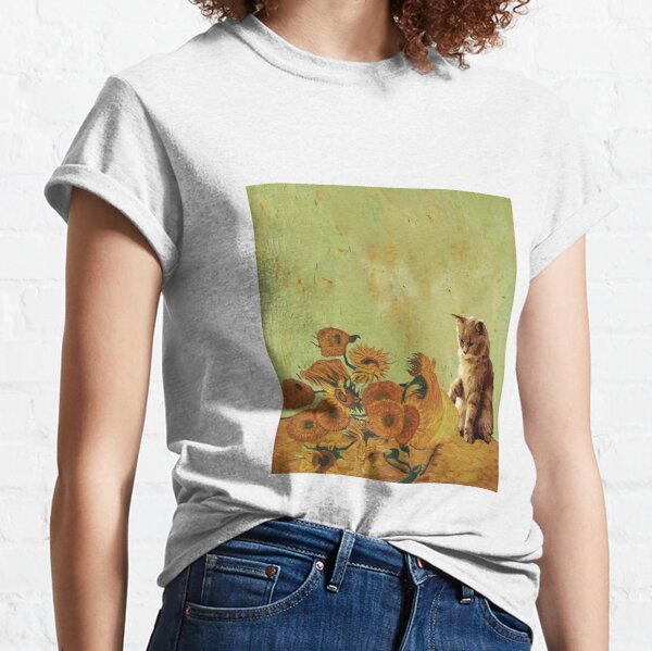 Sunflowers by Vincent Van Gogh and funny cat art meme  Classic T-Shirt