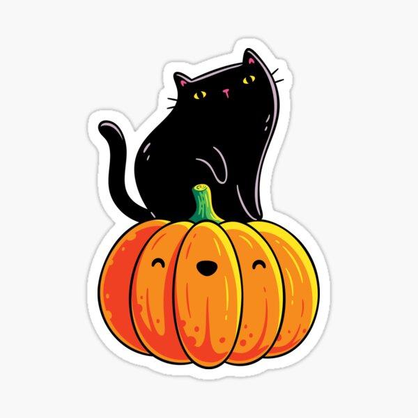 Black Kitten on a Pumpkin Sticker