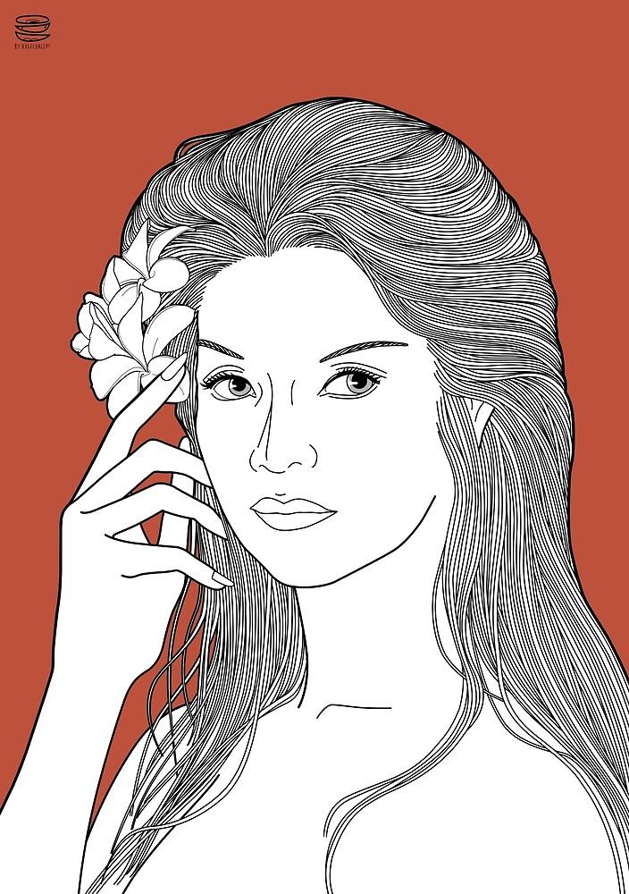Line Illustration#RachelArenas by oddconcept