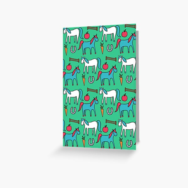 Horses- Aqua Palette Greeting Card