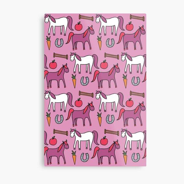 Horses- Pink Palette Metal Print