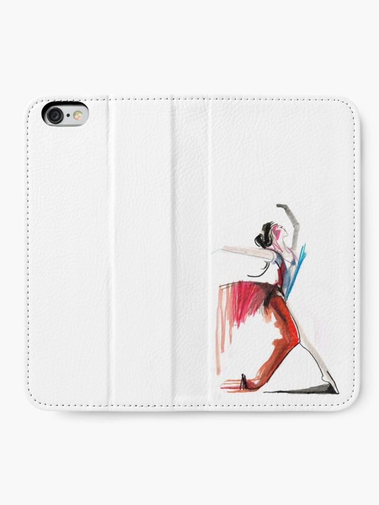 Alternate view of Expressive Ballerina Dance Drawing iPhone Wallet